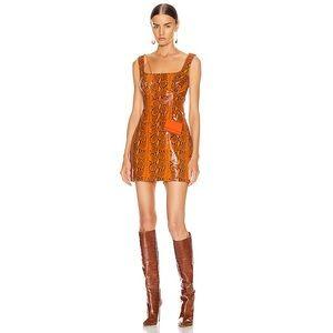 GRLFRND Romi Mini Dress Orange Black Snake XS